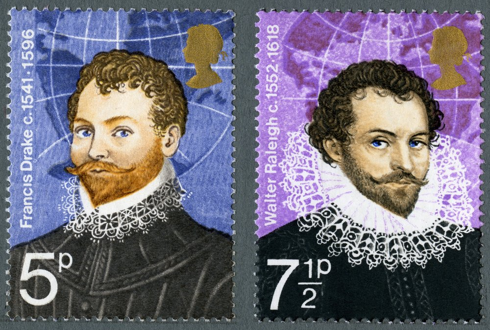 Sir Francis Drake and Sir Walter Raleigh (source: postalmuseum.org)