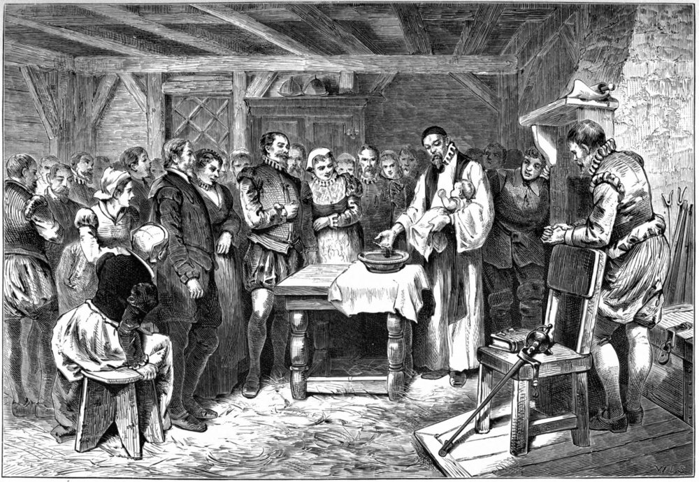 """Baptism of Virginia Dare"" lithograph from Pioneers in the settlement of America: from Florida in 1510 to California in 1849 by William A. Crafts, 1876 (source: Wikimedia Commons)"