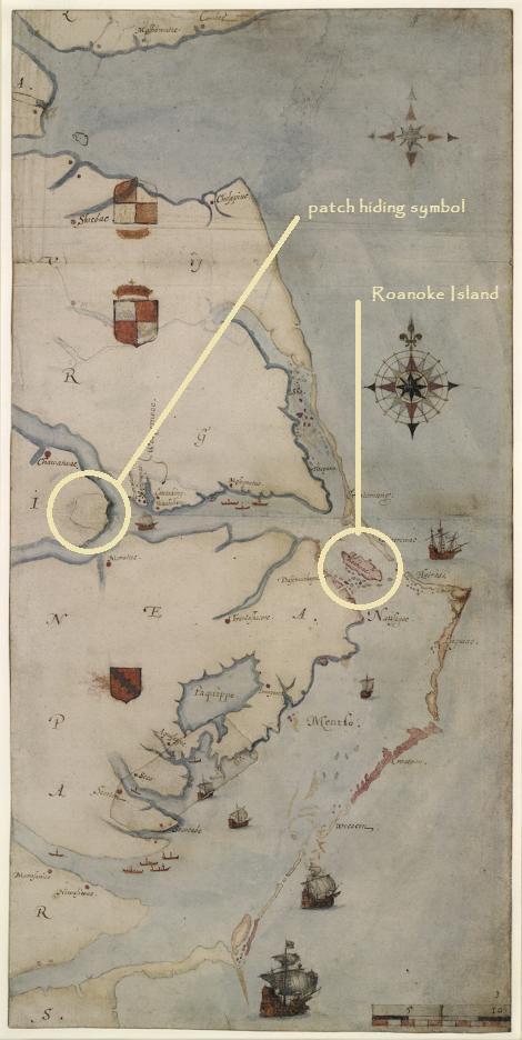 John White's map, 1585 (source: National Geographic [my labels])
