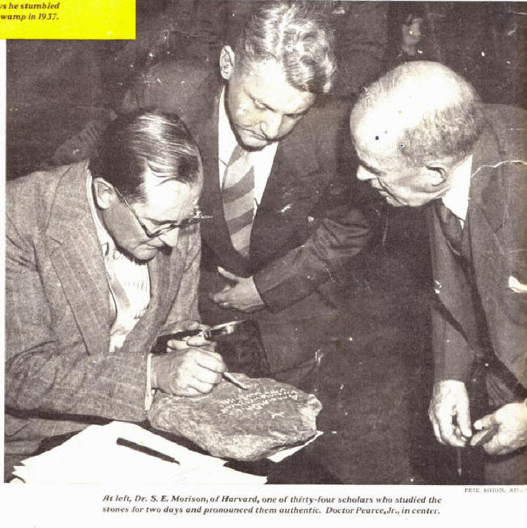 Pearce and Harvard scholars examining Dare Stone, from the Saturday Evening Post, via Angelfire.com
