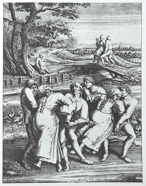 Die Wallfahrt der Fallsuechtigen nach Meulebeeck, an engraving by Hendrick Hondius based on a drawing by Pieter Brueghel depicting the dancing plague, via Wikimedia Commons