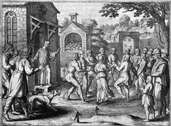 Religious fanatics dancing amid graves in a churchyard, vi Wikimedia Commons