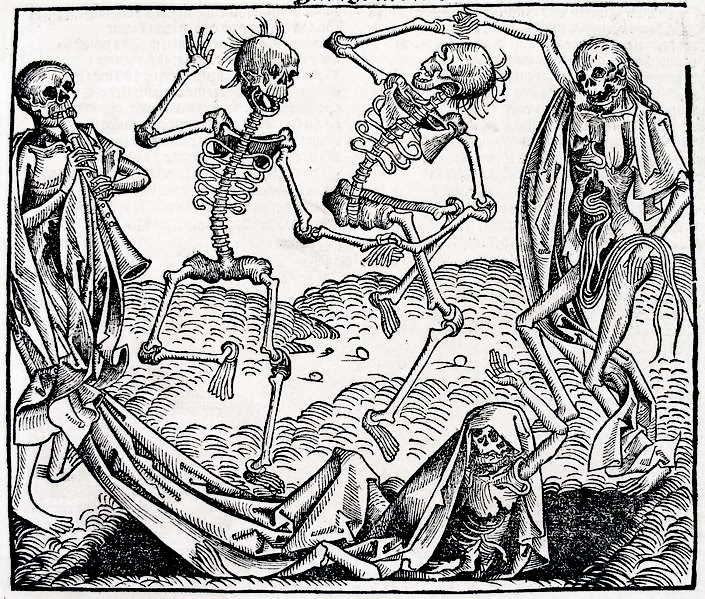 Dance Macabre,, attributed to Michael Wolgemut, published 1493 in Hartman Schedel's Chronicle of the World, via Wikimedia Commons