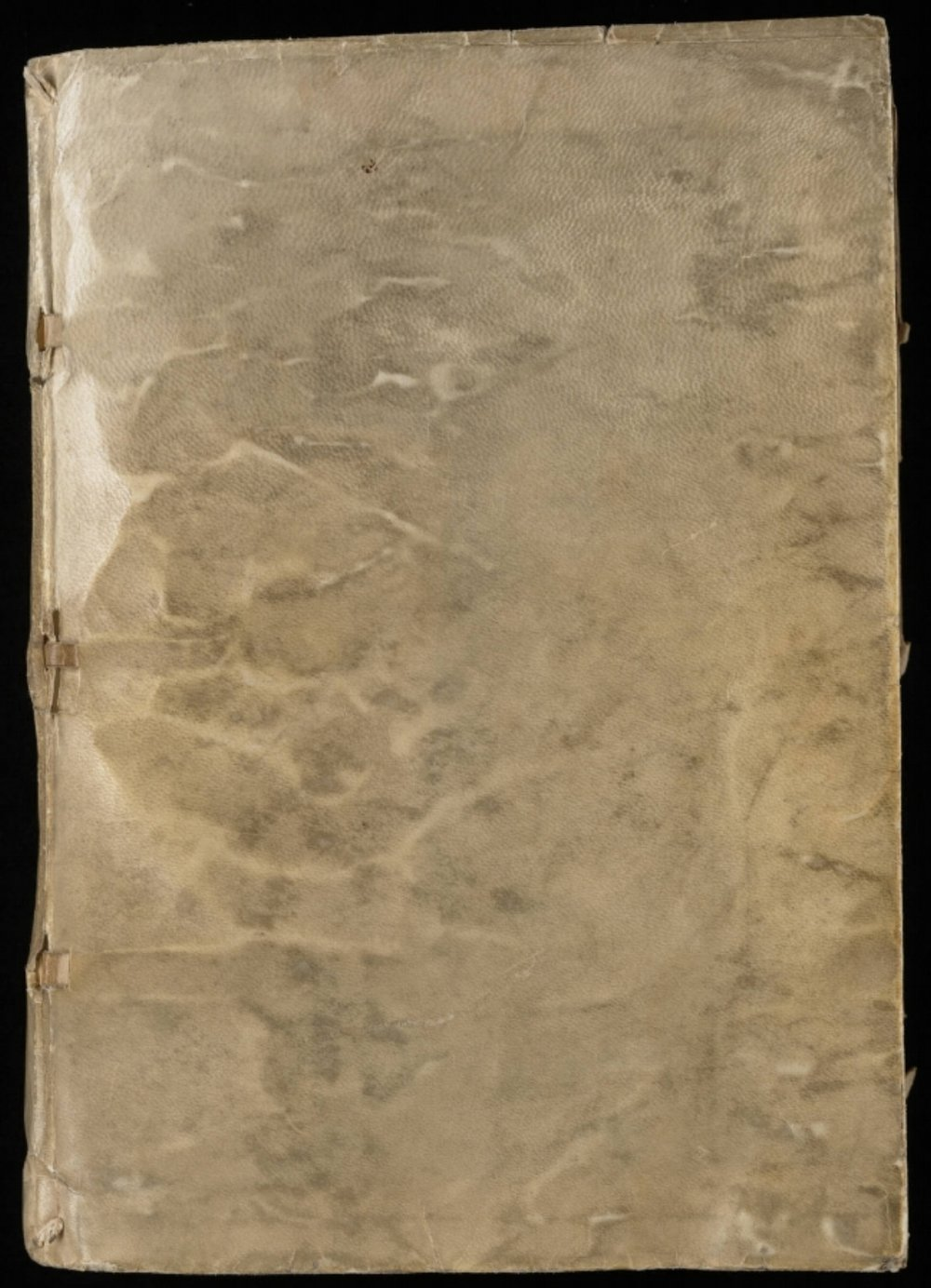 "The plain cover of Voynich's ""ugly duckling"" manuscript, via Wikimedia Commons"