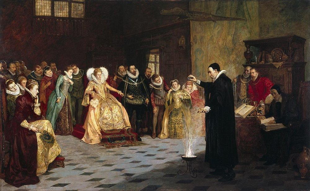 """John Dee performing an experiment before Queen Elizabeth I,"" Oil painting by Henry Gillard Glindoni, via Wikimedia Commons"