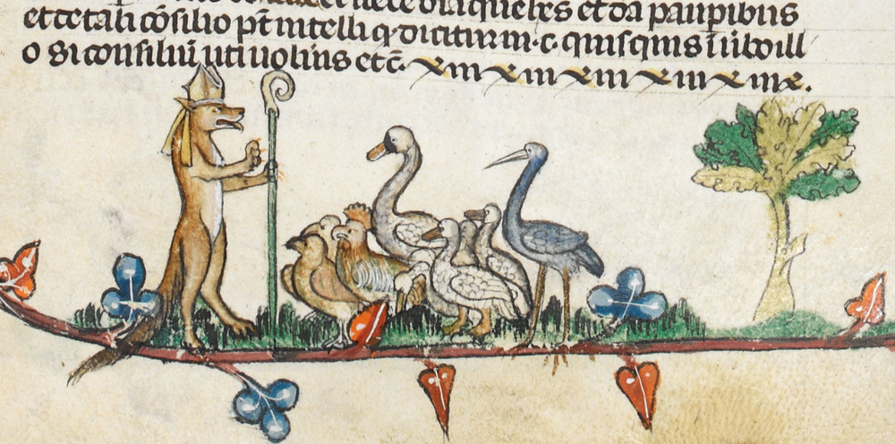 A mitred fox preacher ministers to flock both literal and figurative, from the Smithfield Decretals, circa 1300-1340, via Wikimedia Commons