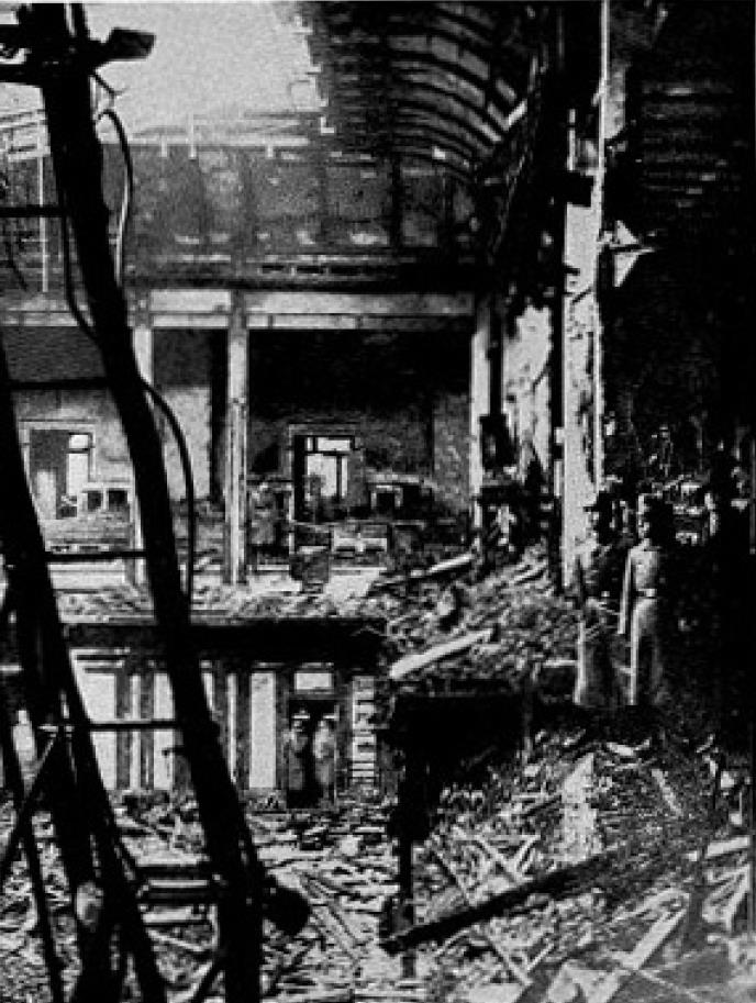 The burnt-out Sessions Chamber, from The Reichstag Fire by Fritz Tobias.
