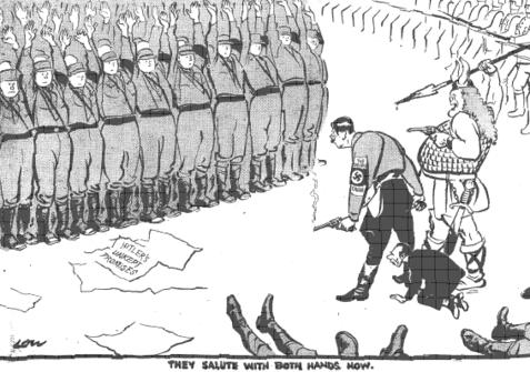 1934 British cartoon satirizing the Night of the Long Knives, via Academic Dictionaries and Encyclopedias