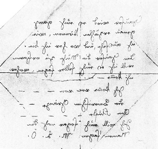 The note written in mirror-writing found in the Hofgarten, via Wikimedia Commons
