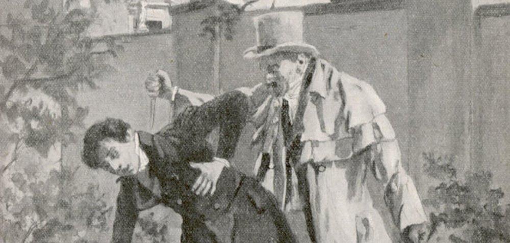 A depiction of Kaspar Hauser's murder, via Welt and N24