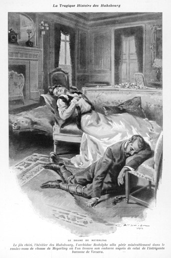 A depiction of the scene at the Mayerling Tragedy