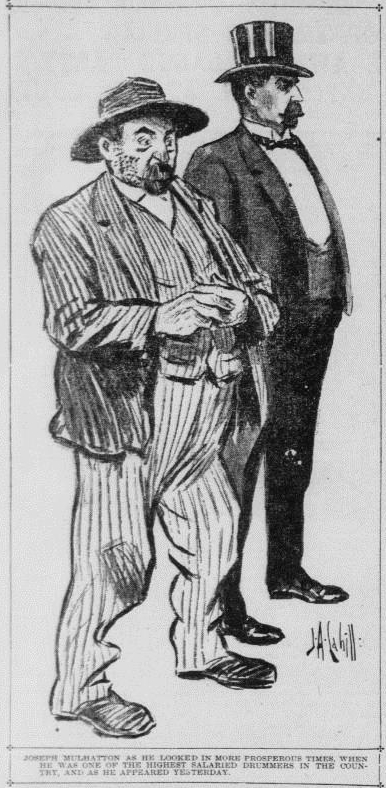 Illustration of Mulhatton both after his downfall and in his prime, from the San Francisco  Call