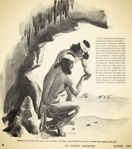 The Peyserts making their discovery, in The Desert Magazine, via  The Mojave Project