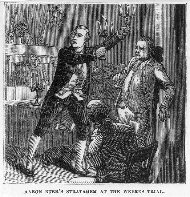 Depiction of exaggerated events at the Weeks Trial, via the  Library of Congress