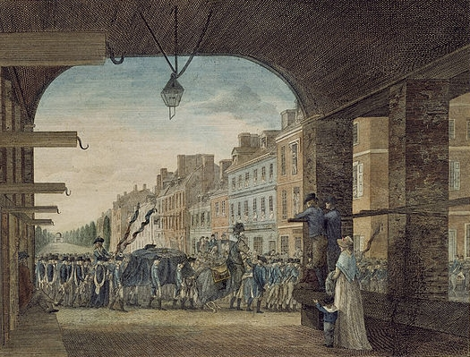 A depiction of another funeral parade for Washington, in Philadelphia, via  Wikimedia Commons