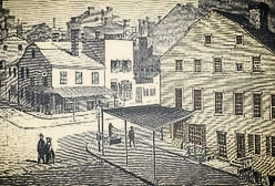 A drawing sometimes used as a depiction of the Ring Boardinghouse, via  Murder by Gaslight