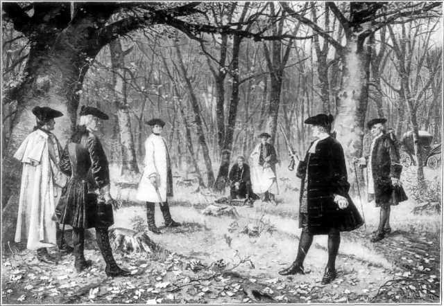 Duel between Alexander Hamilton and Aaron Burr, via Wikimedia Commons.