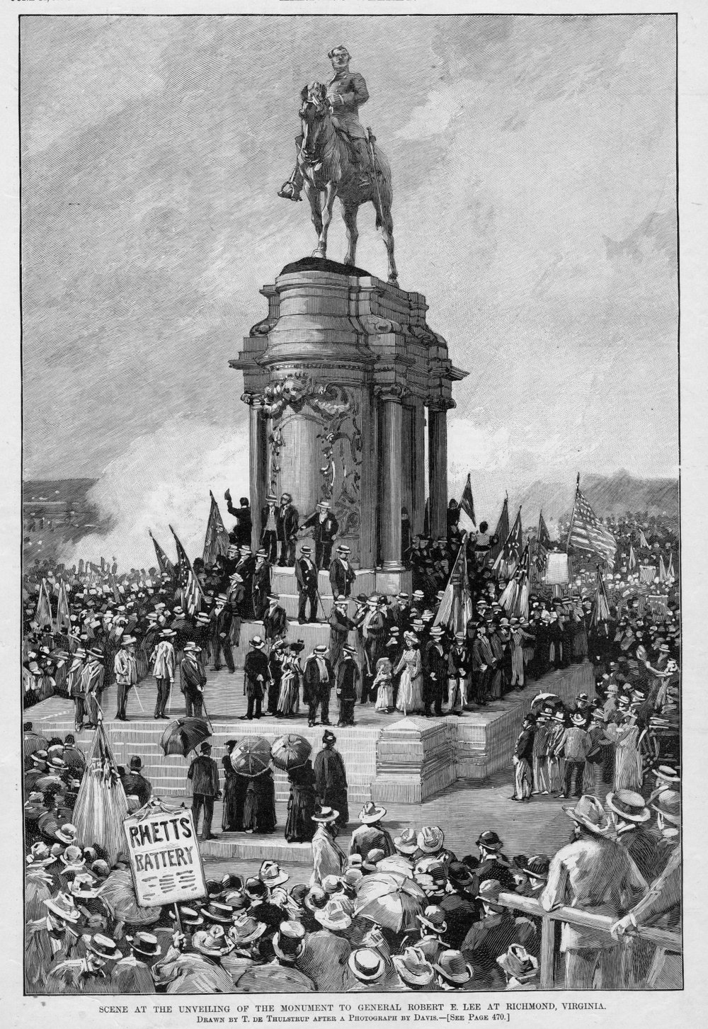 The unveiling of the statue in Rochmond, via the Library of Virginia