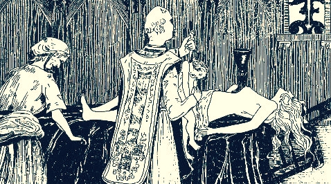 La Voison and Abbé Guibourg's Black Mass performed on Madame de Montespan, via Wikimedia Commons