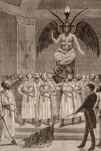 Masonic devil worship, as alleged by Léo Taxil, complete with Templar costumes and Baphomet idol, via  Freemason Information