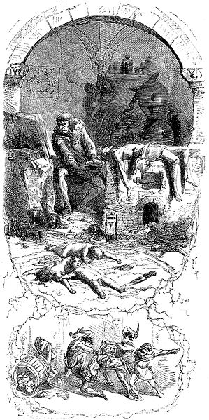Depiction of de Rais about his murderous sorcery, via Wikimedia Commons