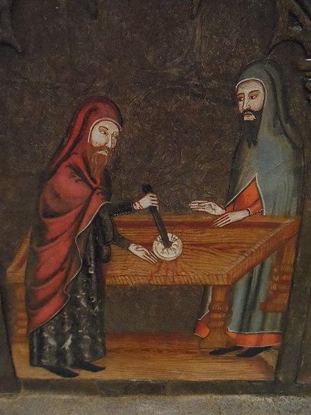 Medieval depiction of host desecration, via Wikipedia
