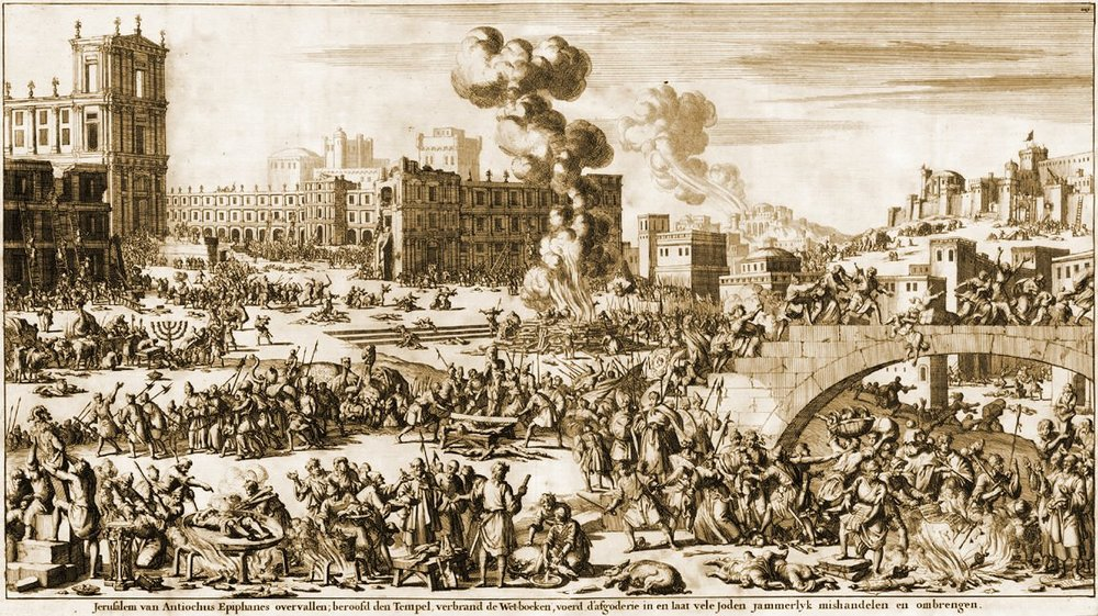 Antiochus Epiphanes spoils Jerusalem, a 1690 engraving by Wilhelm Goeree, via  Seder Olam Revisited