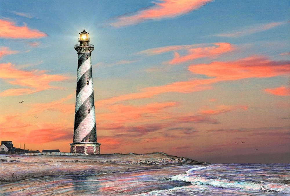 Color drawing of Cape Hatteras Light by  Paul McGehee