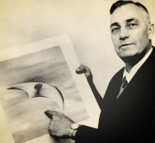 Kenneth Arnold and his boomerang-like UFOs, via  Wikipedia