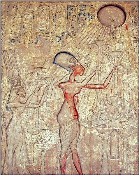 Akhenaton worshiping the Solar Disc, via  Wikimedia Commons