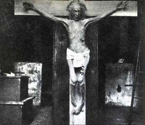 A cadaver crucified by Dr. Barbet, via  Mad Scientist Blog