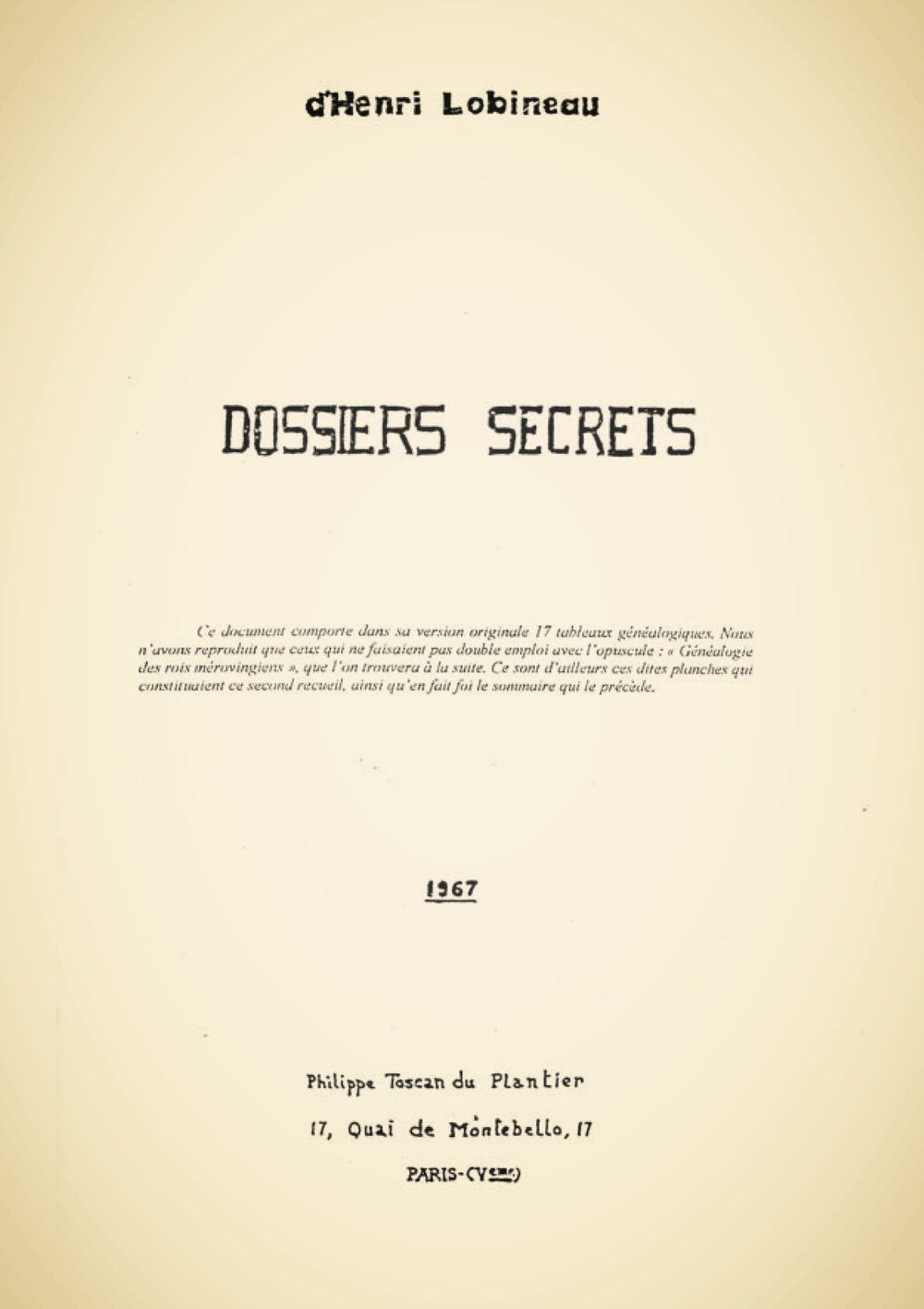 The cover page of  Dossiers Secrets d'Henri Lobineau , via  Just Some Info
