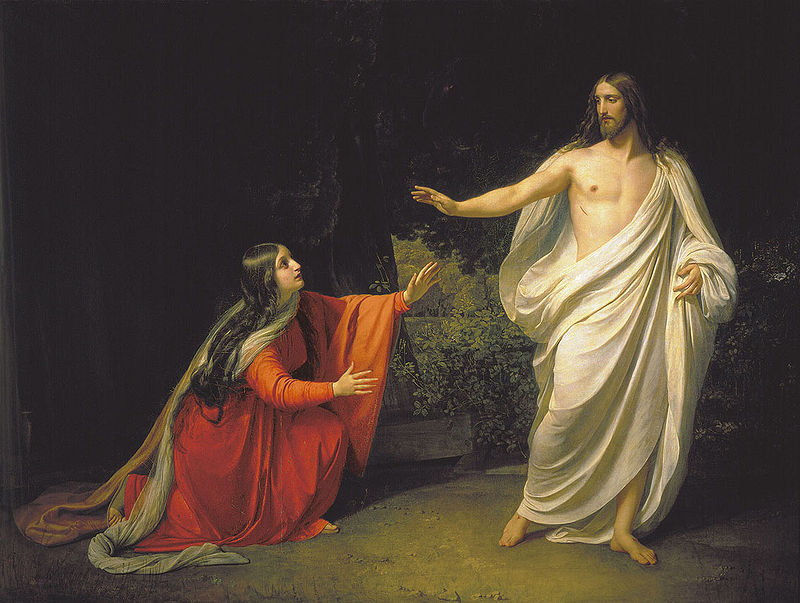 Alexander Andreyevich Ivanov's  Appearance of Jesus Christ to Maria Magdalena , a depiction of Christ telling the Magdalene not to touch him after his resurrection, via  Wikimedia Commons
