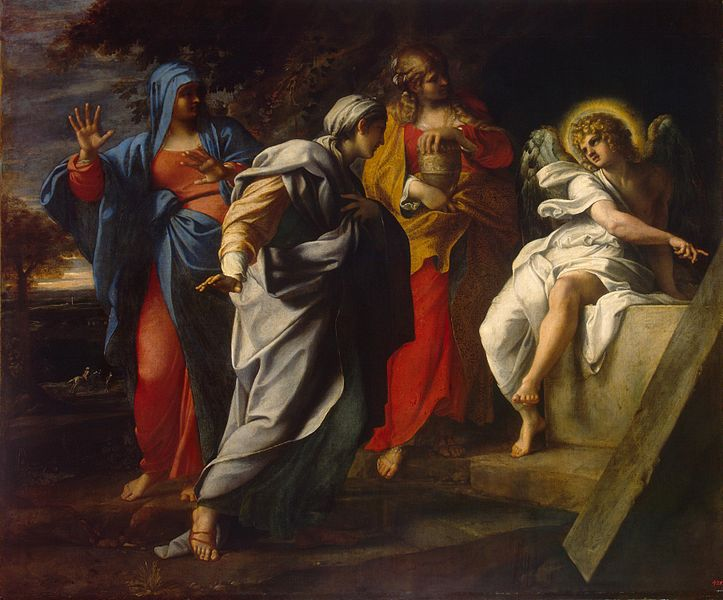 Holy Women at Christ's Tomb by Annibale Carracci c. 1590s, via  Wikimedia Commons