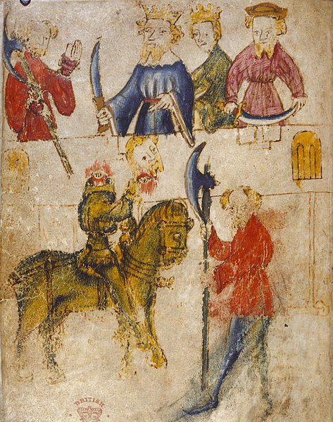 Original image from the manuscript of Sir Gawain and the Green Knight, artist unknown, via  Wikimedia Commons