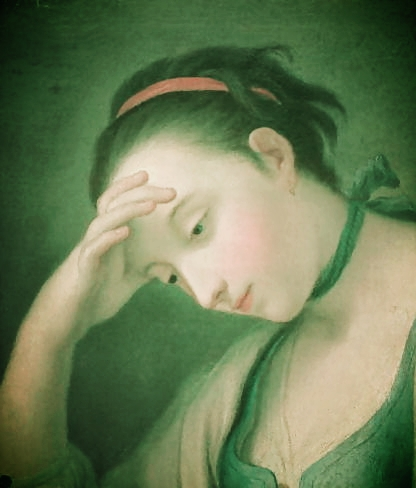 Portrait of a young lady looking green behind the gills, so to speak, by Pietro Antonio Rotari, via  The Artchive