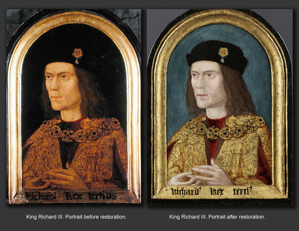 Comparison showing alterations to Richard's portrait, via  richard3rd