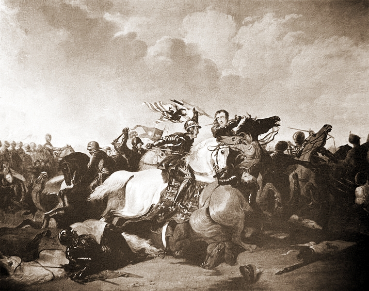Richard III at the Battle of Bosworth Field, by Abraham Cooper, 1825, via  Wikimedia Commons
