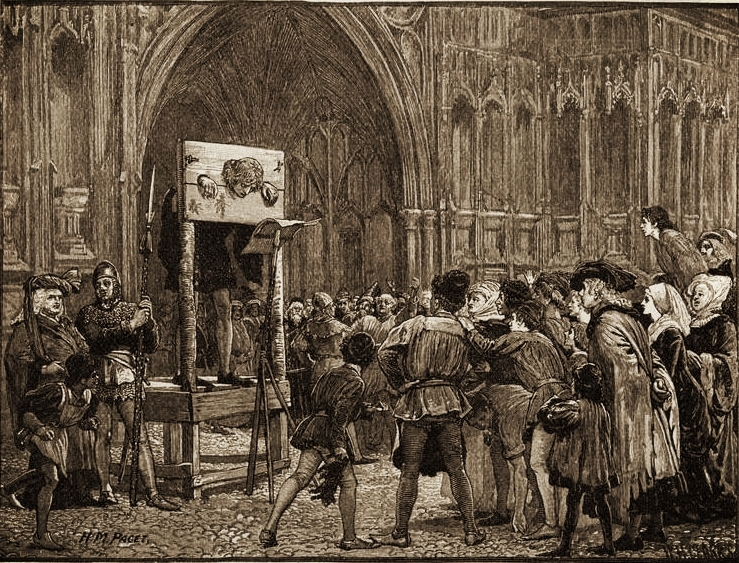 Perkin Warbeck in the Pillory, by H. M. Paget, 1884, via  Wikimedia Commons