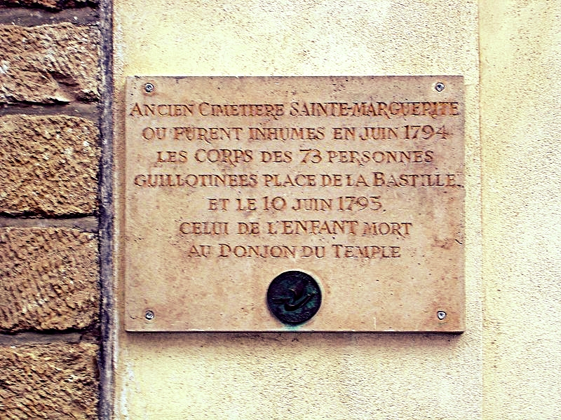 "Plaque commemorating the ""old Sainte-Marguerite Cemetery where were buried in June 1794 the corpses of 73 persons killed by guillotine, and on the 10th of June 1795 that of the dead child in the dungeon of the Temple,"" via  Wikimedia Commons ."