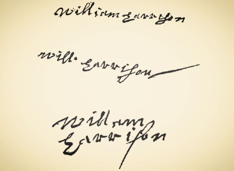 Signatures of William Harrison (from top to bottom: April 1657, April 1660, and October 1663), from Linda Stratmann's   Gloucestershire Murders