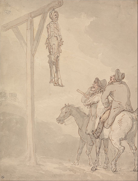 A Gibbet by Thomas Rowlandson, via Wikimedia Commons