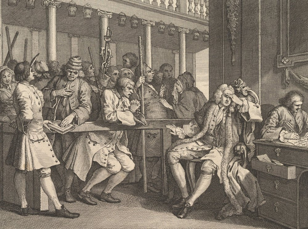 A depiction of English law in practice, with the swearing in of one witness and another pleading his case, by William Hogarth, 1747, via  The Met