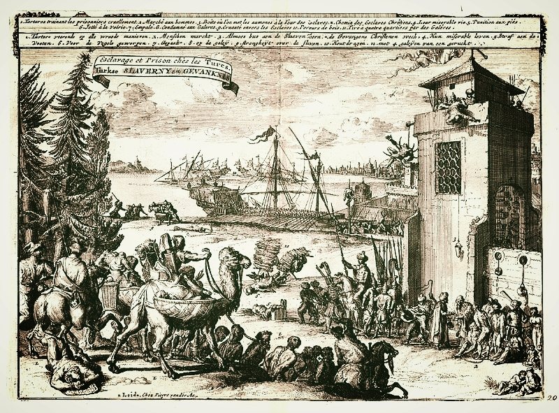 A depiction of slavery in Turkey, by Pieter van der Aa, 1725, via  Wikimedia Commons