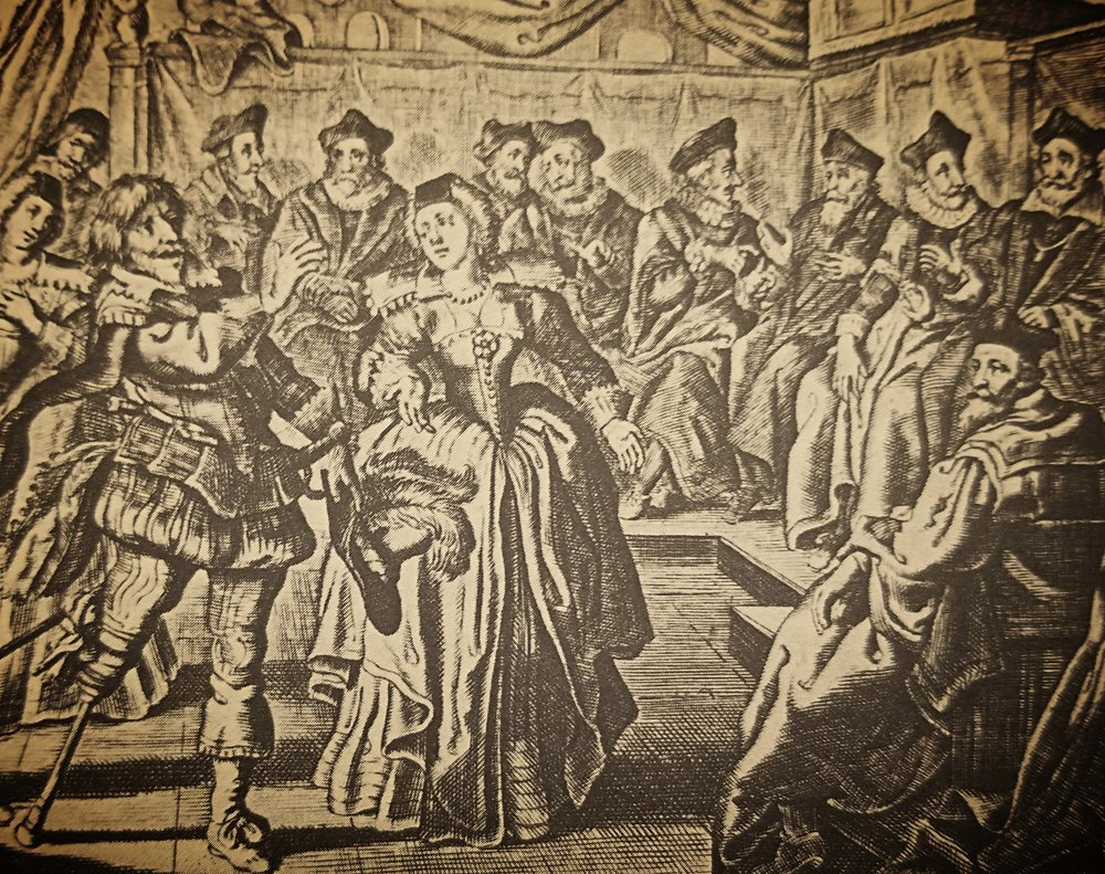 The first depiction of the case, from  Alle de Wercken  by Jacob Cats, incorrectly portraying the couple as being far wealthier than peasants, via Natalie Zemon Davis's  The Return of Martin Guerre , p. 87