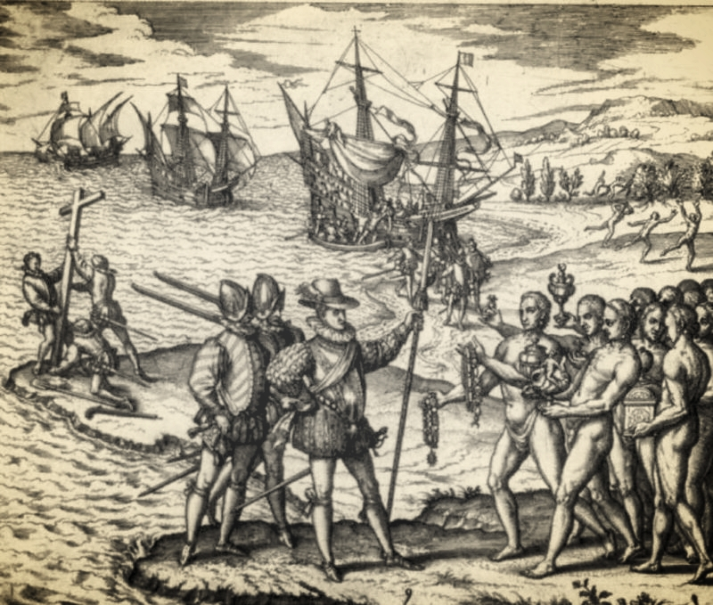 Columbus landing on Hispaniola, quite unsure of where he was, via  Wikimedia Commons