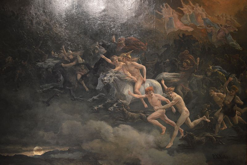 Peter Nicolai Arbo's The Wild Hunt of Odin, 1868, via  Wikimedia Commons
