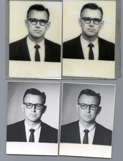 Ray's Canadian passport photos, via  Another Nickel in the Machine