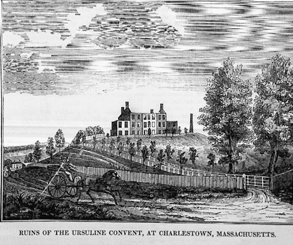 """Ruins of the Ursuline Convent, at Charlestown Massachusetts,"" 1834, via  Wikimedia Commons"