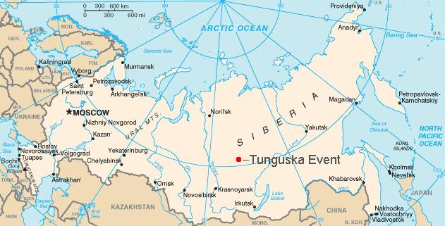 Location of the Tunguska Event, via  Wikimedia Commons